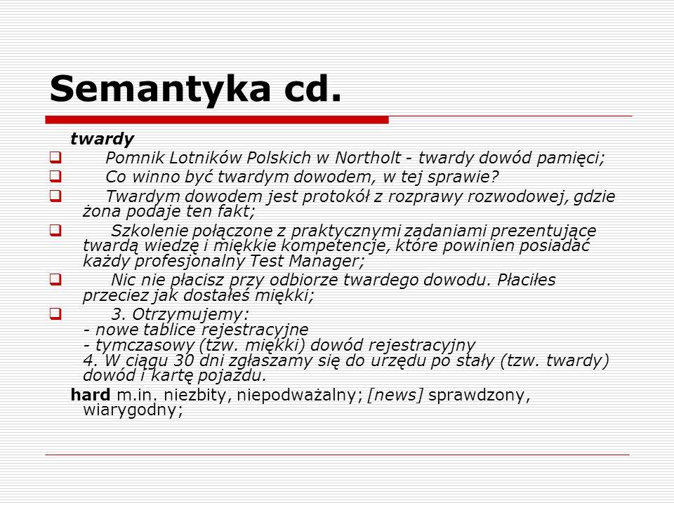 Semantyka cd. twardy Pomnik Lotników Polskich w Northolt - twardy dowód pamięci; Co winno być twardym dowodem, w tej sprawie? Twardym dowodem jest pro