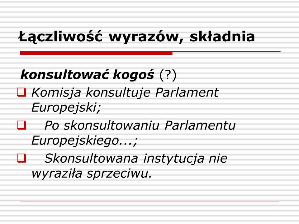 Łączliwość wyrazów, składnia konsultować kogoś (?) Komisja konsultuje Parlament Europejski; Po skonsultowaniu Parlamentu Europejskiego...; Skonsultowa
