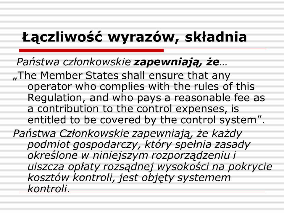 Łączliwość wyrazów, składnia Państwa członkowskie zapewniają, że… The Member States shall ensure that any operator who complies with the rules of this