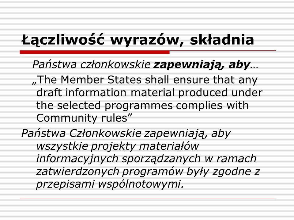 Łączliwość wyrazów, składnia Państwa członkowskie zapewniają, aby… The Member States shall ensure that any draft information material produced under t