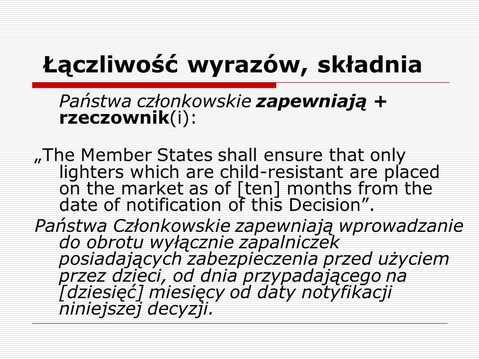 Łączliwość wyrazów, składnia Państwa członkowskie zapewniają + rzeczownik(i): The Member States shall ensure that only lighters which are child-resist