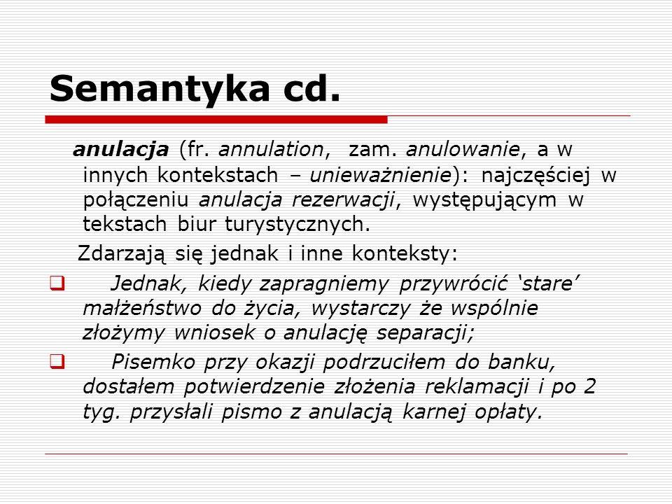 Semantyka cd. anulacja (fr. annulation, zam. anulowanie, a w innych kontekstach – unieważnienie): najczęściej w połączeniu anulacja rezerwacji, występ