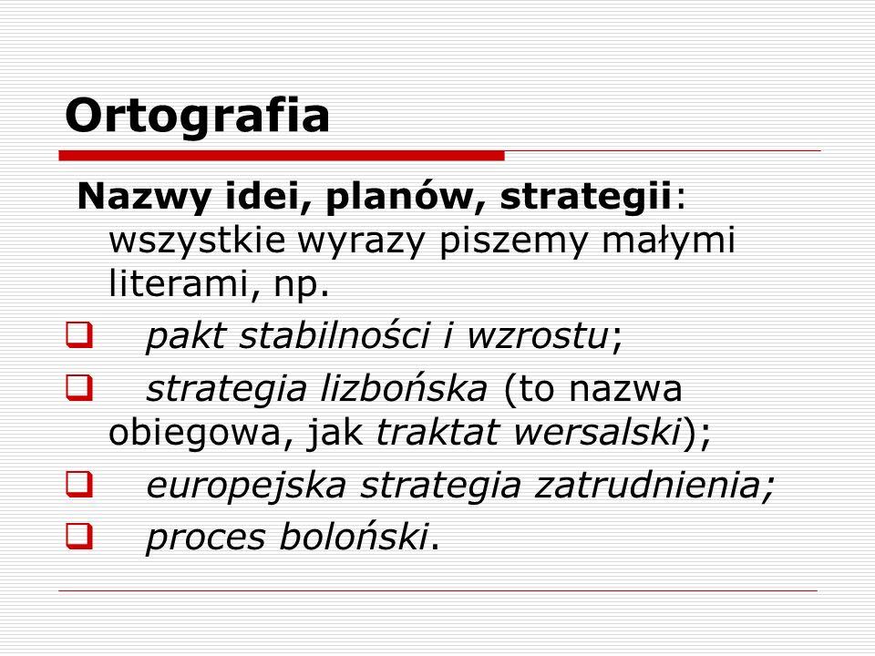 Ortografia Nazwy idei, planów, strategii: wszystkie wyrazy piszemy małymi literami, np. pakt stabilności i wzrostu; strategia lizbońska (to nazwa obie