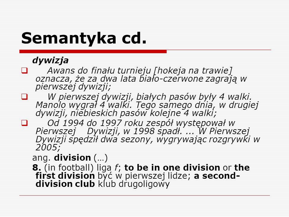 Semantyka cd. dywizja Awans do finału turnieju [hokeja na trawie] oznacza, że za dwa lata biało-czerwone zagrają w pierwszej dywizji; W pierwszej dywi