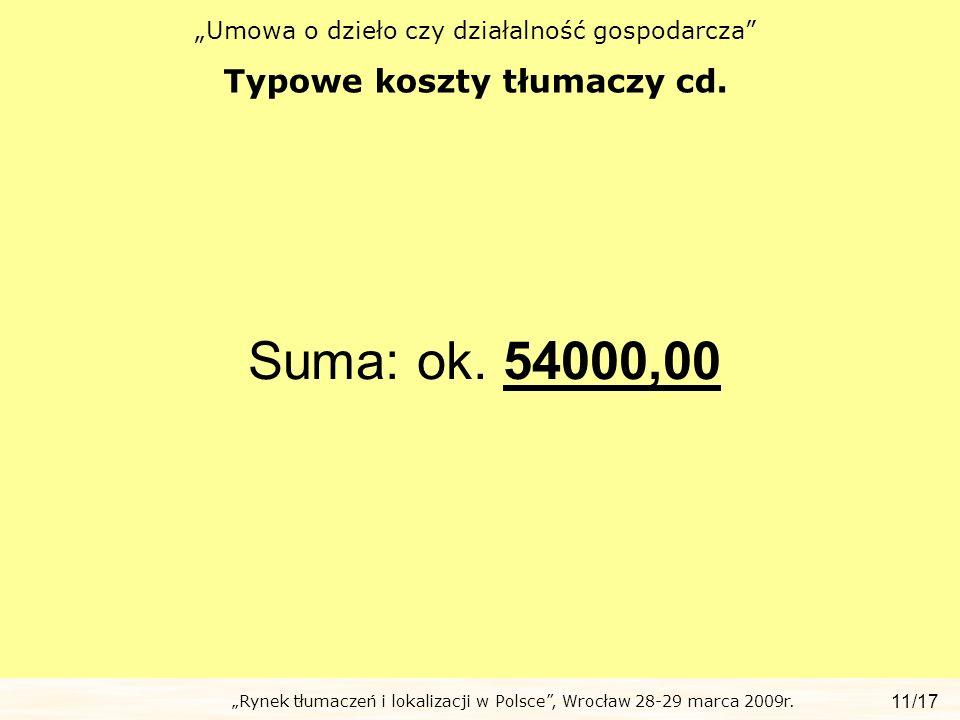 Rynek tłumaczeń i lokalizacji w Polsce, Wrocław 28-29 marca 2009r. Umowa o dzieło czy działalność gospodarcza Typowe koszty tłumaczy cd. 11/17 Suma: o