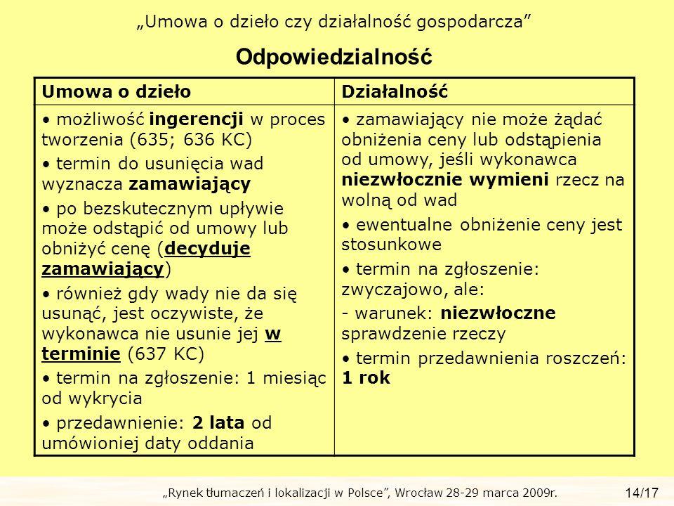 Rynek tłumaczeń i lokalizacji w Polsce, Wrocław 28-29 marca 2009r. Umowa o dzieło czy działalność gospodarcza Odpowiedzialność 14/17 Umowa o dziełoDzi