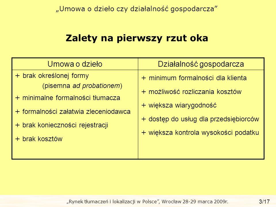 Rynek tłumaczeń i lokalizacji w Polsce, Wrocław 28-29 marca 2009r. Umowa o dzieło czy działalność gospodarcza Zalety na pierwszy rzut oka 3/17 Umowa o