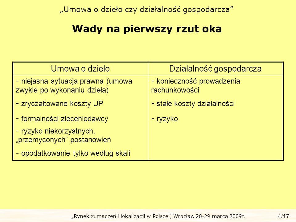 Rynek tłumaczeń i lokalizacji w Polsce, Wrocław 28-29 marca 2009r. Umowa o dzieło czy działalność gospodarcza Wady na pierwszy rzut oka 4/17 Umowa o d