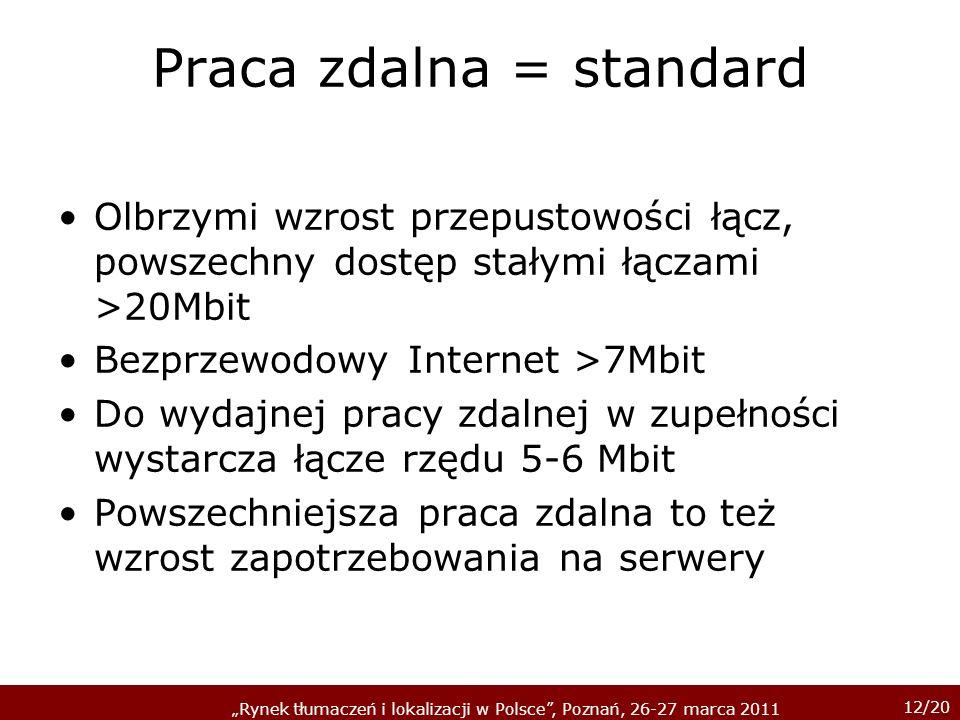 12/20 Rynek tłumaczeń i lokalizacji w Polsce, Poznań, 26-27 marca 2011 Praca zdalna = standard Olbrzymi wzrost przepustowości łącz, powszechny dostęp stałymi łączami >20Mbit Bezprzewodowy Internet >7Mbit Do wydajnej pracy zdalnej w zupełności wystarcza łącze rzędu 5-6 Mbit Powszechniejsza praca zdalna to też wzrost zapotrzebowania na serwery