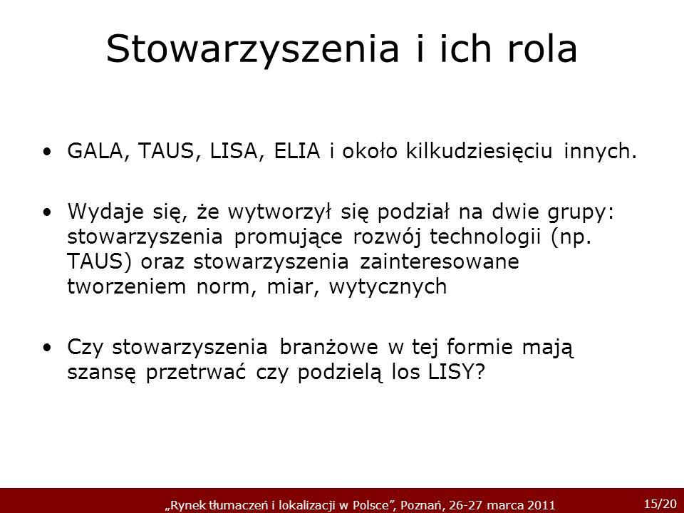 15/20 Rynek tłumaczeń i lokalizacji w Polsce, Poznań, 26-27 marca 2011 Stowarzyszenia i ich rola GALA, TAUS, LISA, ELIA i około kilkudziesięciu innych.