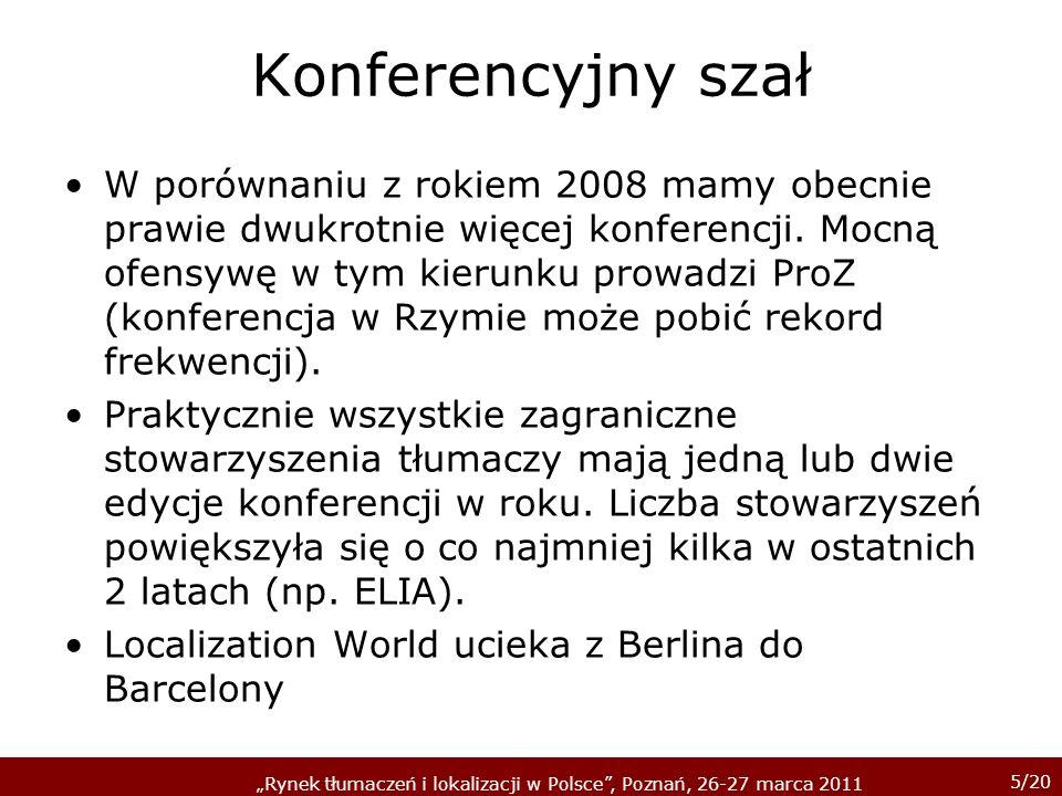 5/20 Rynek tłumaczeń i lokalizacji w Polsce, Poznań, 26-27 marca 2011 Konferencyjny szał W porównaniu z rokiem 2008 mamy obecnie prawie dwukrotnie więcej konferencji.