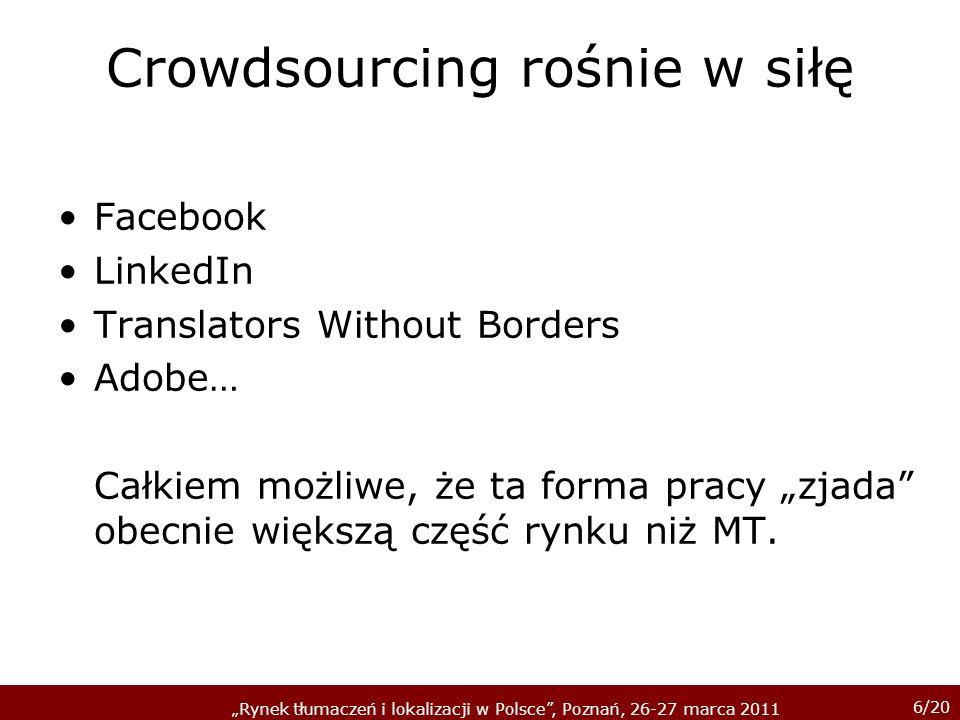 6/20 Rynek tłumaczeń i lokalizacji w Polsce, Poznań, 26-27 marca 2011 Crowdsourcing rośnie w siłę Facebook LinkedIn Translators Without Borders Adobe… Całkiem możliwe, że ta forma pracy zjada obecnie większą część rynku niż MT.