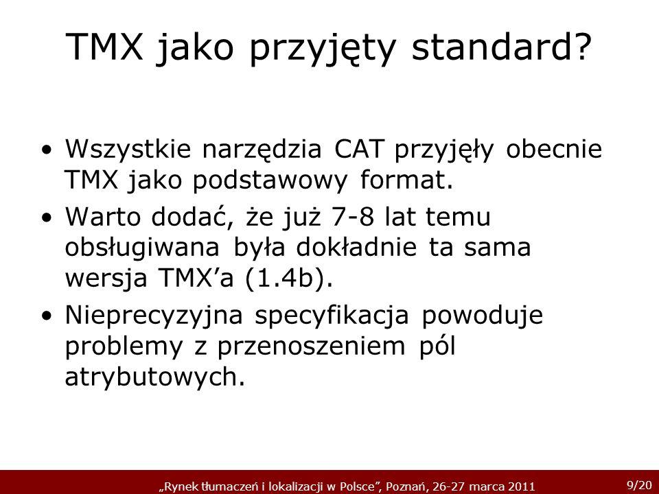 9/20 Rynek tłumaczeń i lokalizacji w Polsce, Poznań, 26-27 marca 2011 TMX jako przyjęty standard.