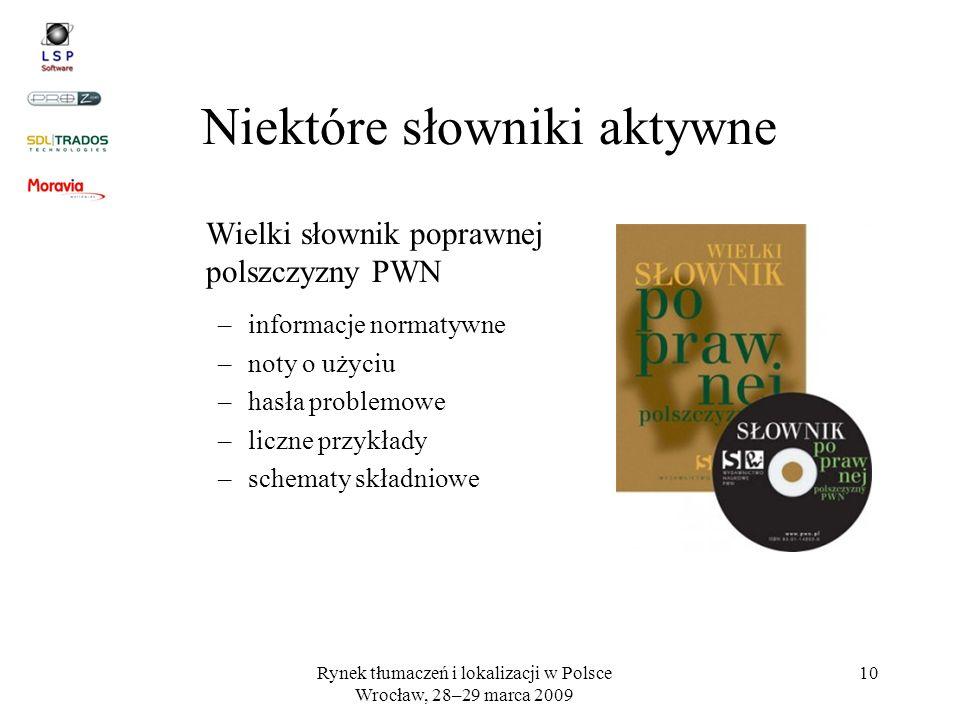Rynek tłumaczeń i lokalizacji w Polsce Wrocław, 28–29 marca 2009 10 Niektóre słowniki aktywne Wielki słownik poprawnej polszczyzny PWN –informacje nor