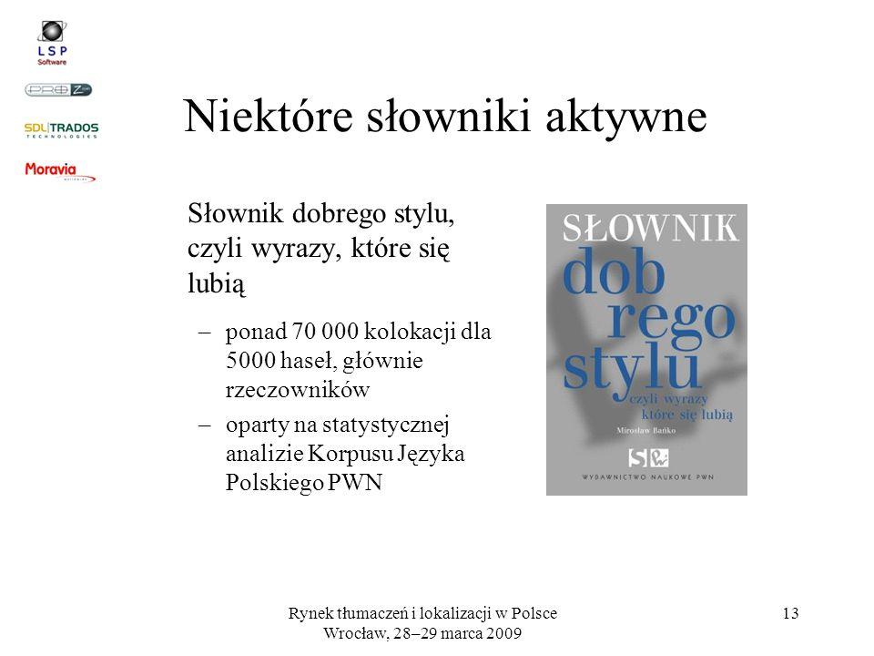 Rynek tłumaczeń i lokalizacji w Polsce Wrocław, 28–29 marca 2009 13 Niektóre słowniki aktywne Słownik dobrego stylu, czyli wyrazy, które się lubią –po