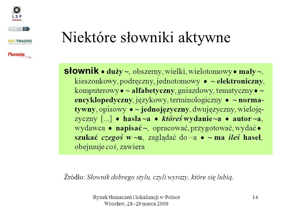 Rynek tłumaczeń i lokalizacji w Polsce Wrocław, 28–29 marca 2009 14 słownik duży ~, obszerny, wielki, wielotomowy mały ~, kieszonkowy, podręczny, jedn