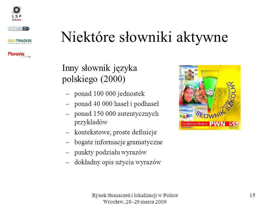 Rynek tłumaczeń i lokalizacji w Polsce Wrocław, 28–29 marca 2009 15 Niektóre słowniki aktywne Inny słownik języka polskiego (2000) –ponad 100 000 jedn