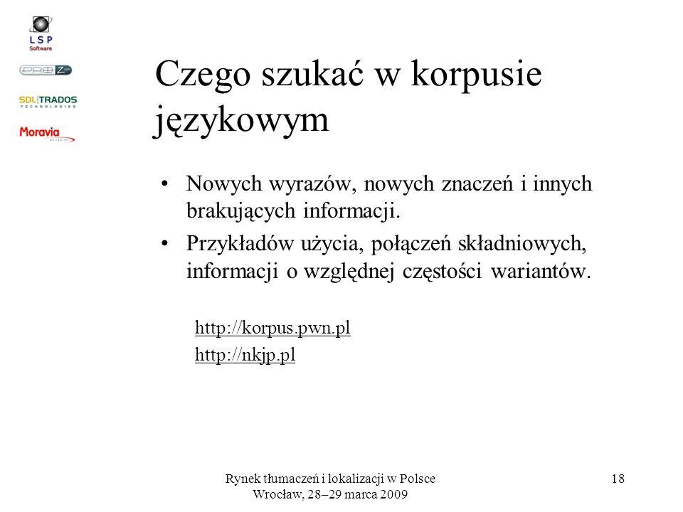 Rynek tłumaczeń i lokalizacji w Polsce Wrocław, 28–29 marca 2009 18 Nowych wyrazów, nowych znaczeń i innych brakujących informacji. Przykładów użycia,