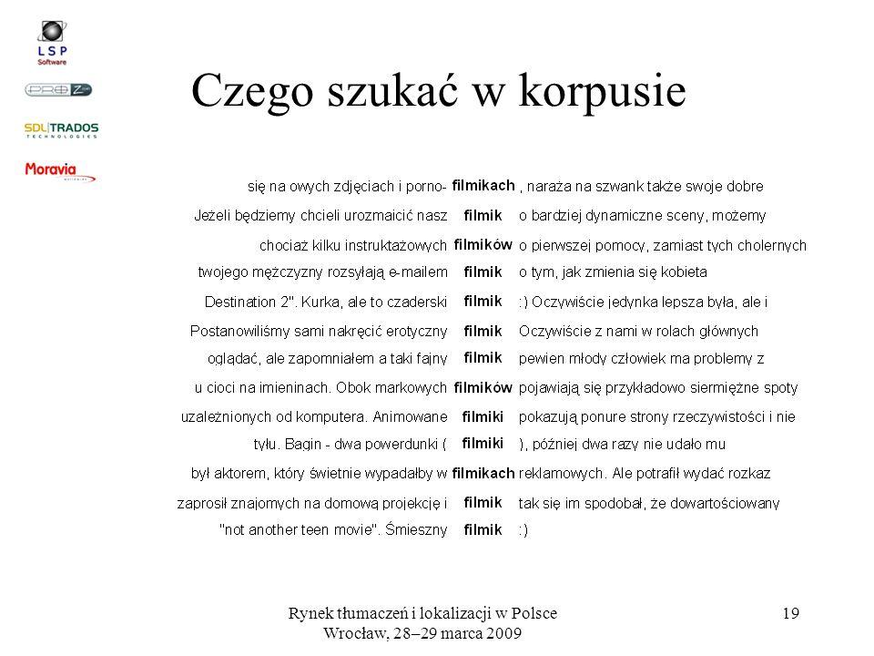 Rynek tłumaczeń i lokalizacji w Polsce Wrocław, 28–29 marca 2009 19 Czego szukać w korpusie