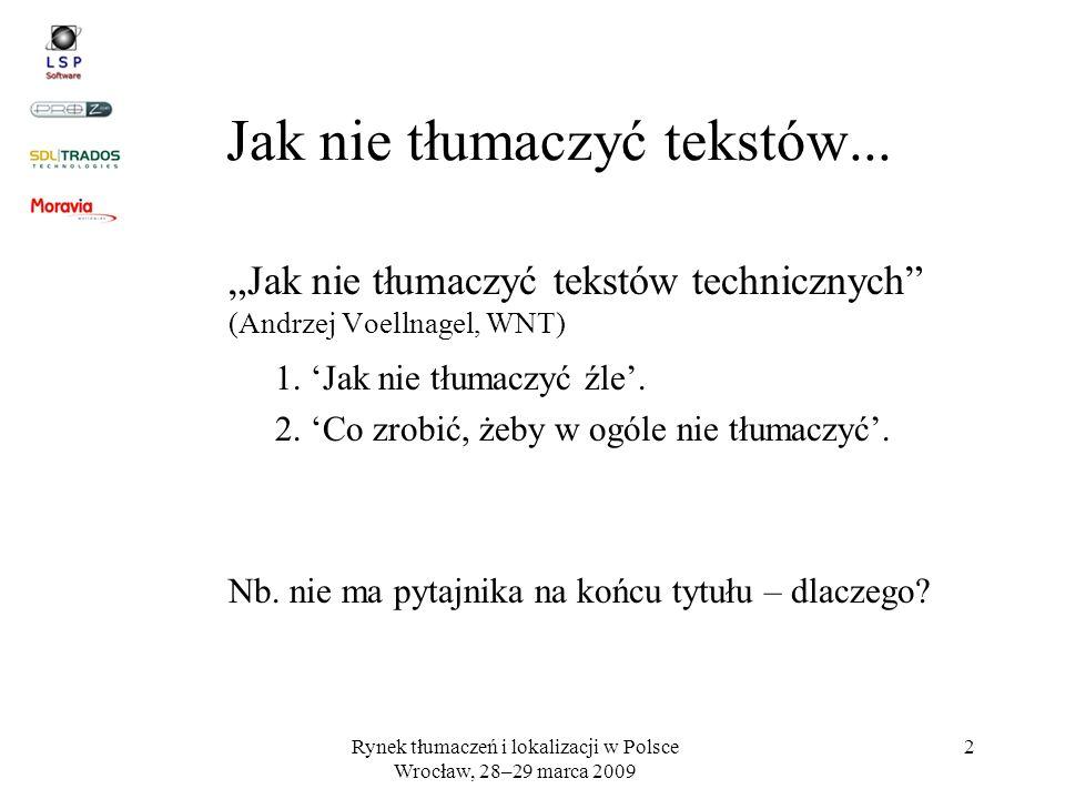 Rynek tłumaczeń i lokalizacji w Polsce Wrocław, 28–29 marca 2009 2 Jak nie tłumaczyć tekstów... Jak nie tłumaczyć tekstów technicznych (Andrzej Voelln