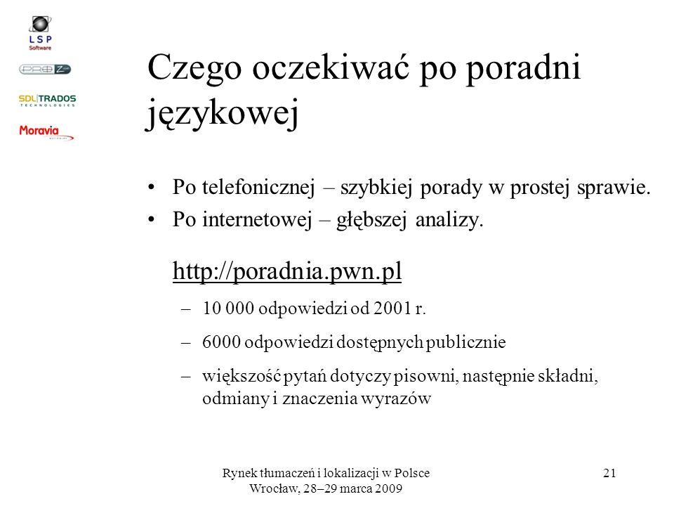 Rynek tłumaczeń i lokalizacji w Polsce Wrocław, 28–29 marca 2009 21 Po telefonicznej – szybkiej porady w prostej sprawie. Po internetowej – głębszej a