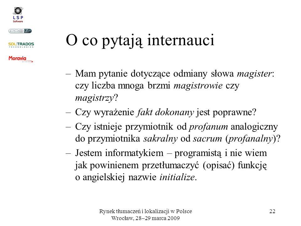 Rynek tłumaczeń i lokalizacji w Polsce Wrocław, 28–29 marca 2009 22 O co pytają internauci –Mam pytanie dotyczące odmiany słowa magister: czy liczba m