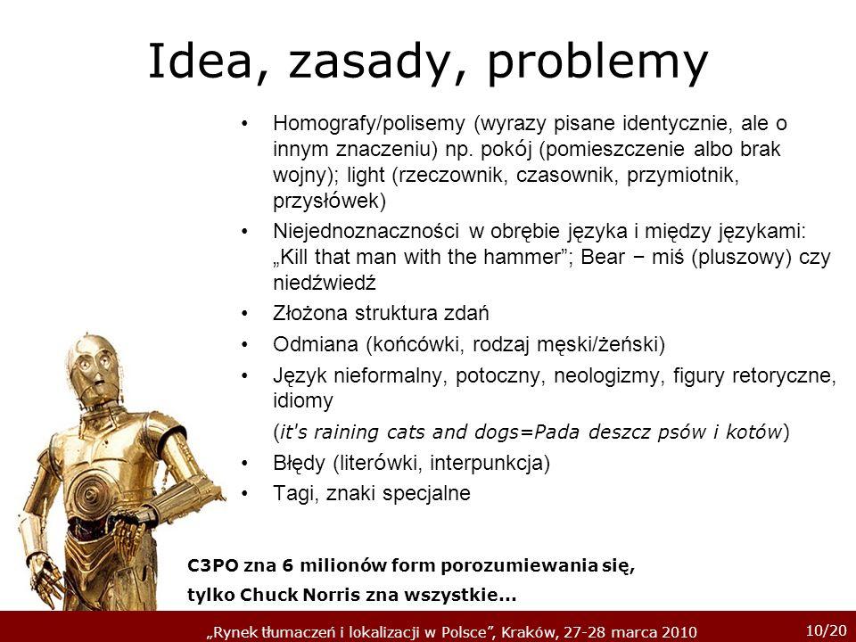 10/20 Rynek tłumaczeń i lokalizacji w Polsce, Kraków, 27-28 marca 2010 Idea, zasady, problemy Homografy/polisemy (wyrazy pisane identycznie, ale o inn
