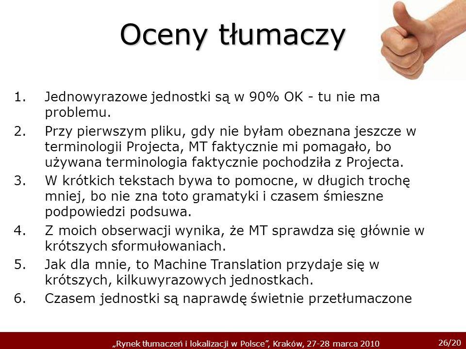 26/20 Rynek tłumaczeń i lokalizacji w Polsce, Kraków, 27-28 marca 2010 Oceny tłumaczy 1.Jednowyrazowe jednostki są w 90% OK - tu nie ma problemu. 2.Pr