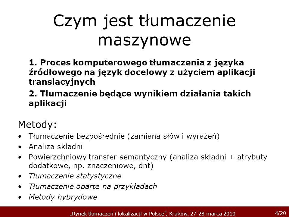 4/20 Rynek tłumaczeń i lokalizacji w Polsce, Kraków, 27-28 marca 2010 Czym jest tłumaczenie maszynowe 1. Proces komputerowego tłumaczenia z języka źró