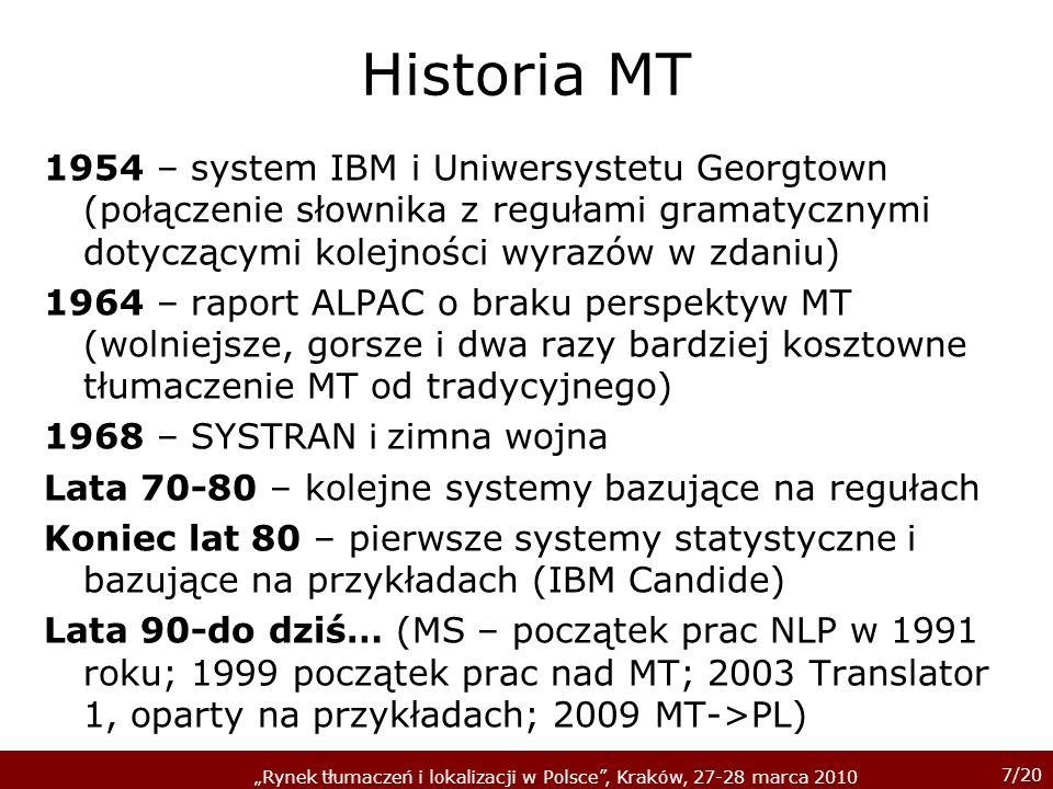 7/20 Rynek tłumaczeń i lokalizacji w Polsce, Kraków, 27-28 marca 2010 Historia MT 1954 – system IBM i Uniwersystetu Georgtown (połączenie słownika z r