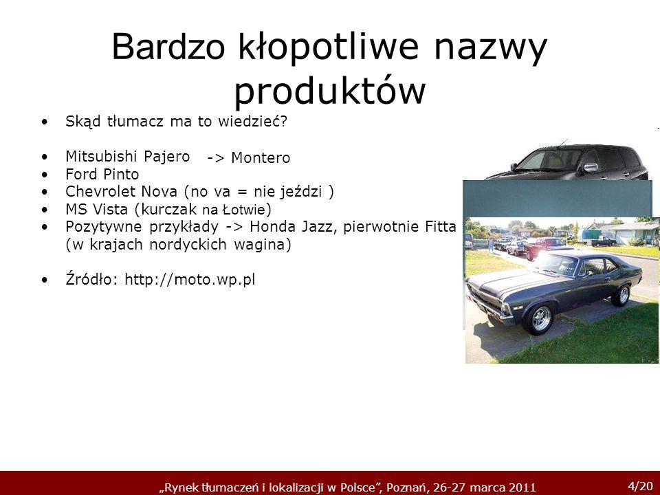 4/20 Rynek tłumaczeń i lokalizacji w Polsce, Poznań, 26-27 marca 2011 Bardzo k łopotliwe nazwy produktów Skąd tłumacz ma to wiedzieć.