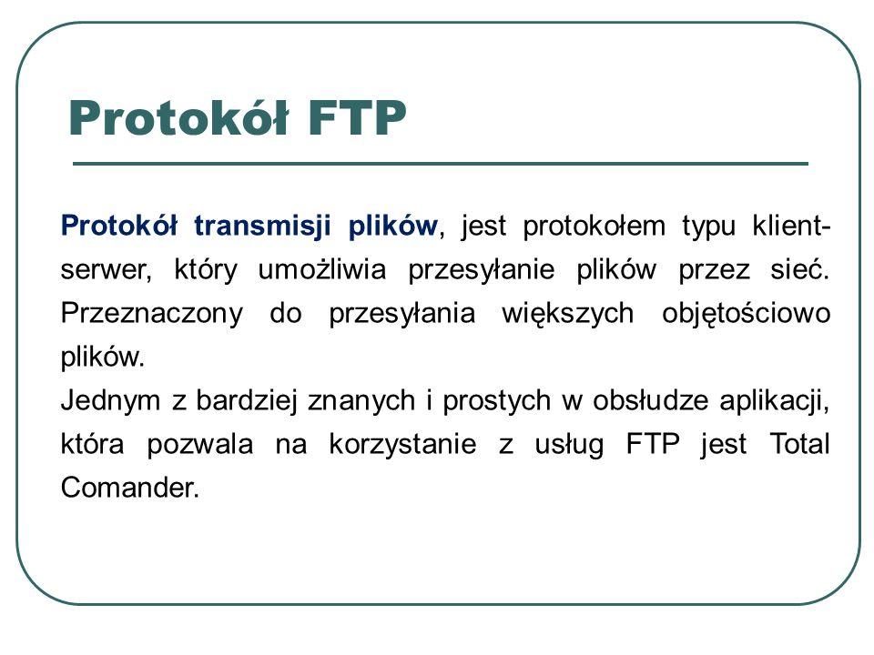 Protokół transmisji plików, jest protokołem typu klient- serwer, który umożliwia przesyłanie plików przez sieć. Przeznaczony do przesyłania większych