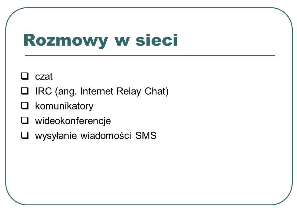 czat IRC (ang. Internet Relay Chat) komunikatory wideokonferencje wysyłanie wiadomości SMS Rozmowy w sieci