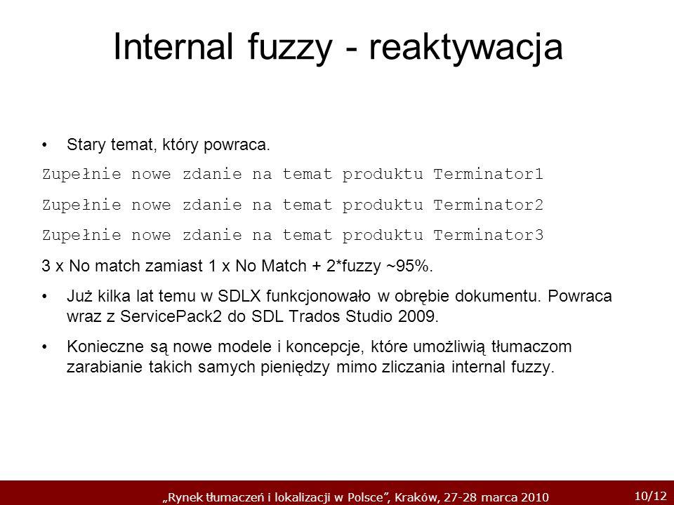10/12 Rynek tłumaczeń i lokalizacji w Polsce, Kraków, 27-28 marca 2010 Internal fuzzy - reaktywacja Stary temat, który powraca. Zupełnie nowe zdanie n