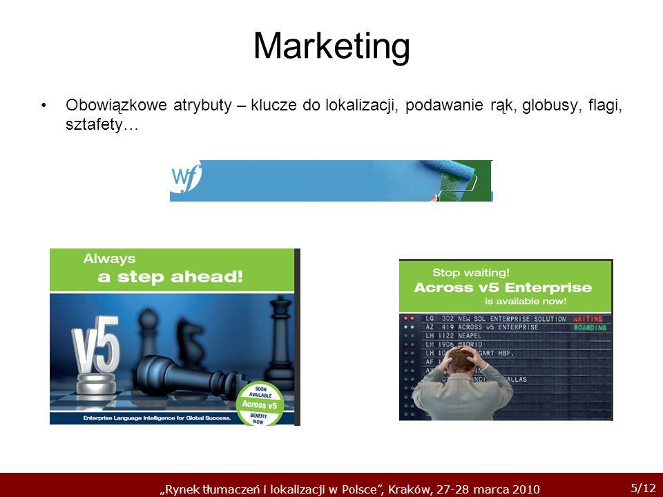5/12 Rynek tłumaczeń i lokalizacji w Polsce, Kraków, 27-28 marca 2010 Marketing Obowiązkowe atrybuty – klucze do lokalizacji, podawanie rąk, globusy,