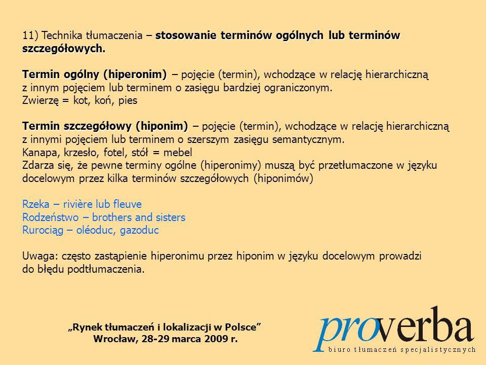 luka 12) Technika tłumaczenia – luka, czyli świadoma nieobecność w języku docelowym jakiegoś słowa lub konstrukcji składniowej występującej w języku żródłowym.