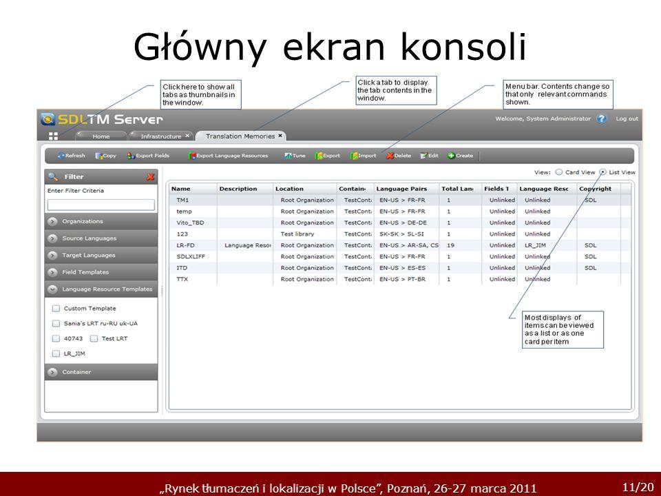 11/20 Rynek tłumaczeń i lokalizacji w Polsce, Poznań, 26-27 marca 2011 Główny ekran konsoli