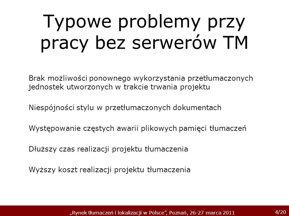 4/20 Rynek tłumaczeń i lokalizacji w Polsce, Poznań, 26-27 marca 2011 Typowe problemy przy pracy bez serwerów TM Brak możliwości ponownego wykorzystan