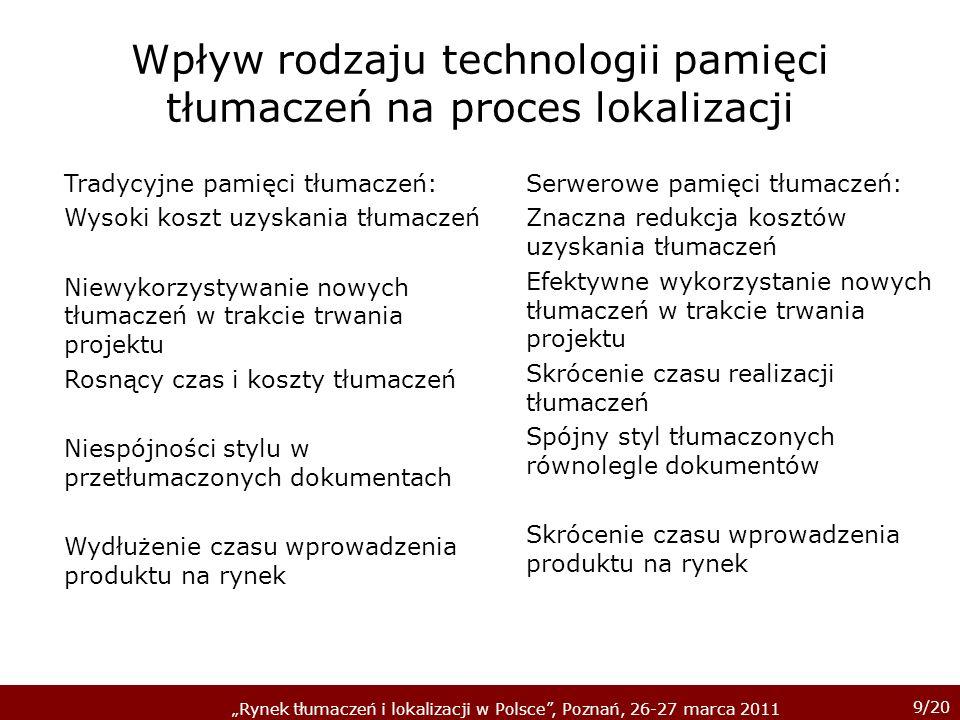 9/20 Rynek tłumaczeń i lokalizacji w Polsce, Poznań, 26-27 marca 2011 Wpływ rodzaju technologii pamięci tłumaczeń na proces lokalizacji Tradycyjne pam