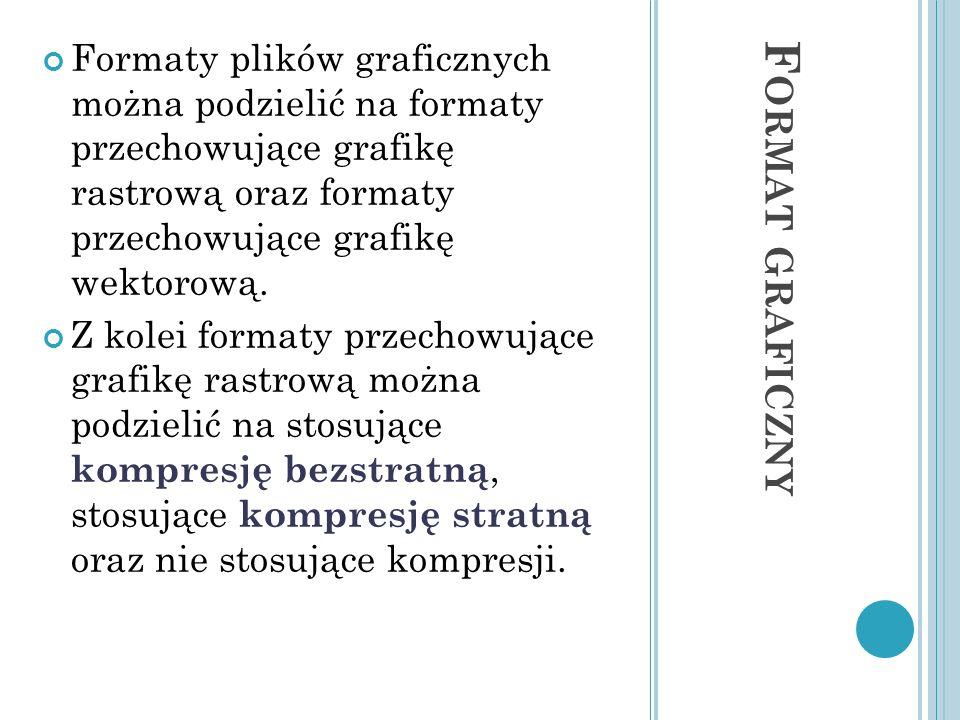 F ORMAT GRAFICZNY Formaty plików graficznych można podzielić na formaty przechowujące grafikę rastrową oraz formaty przechowujące grafikę wektorową. Z