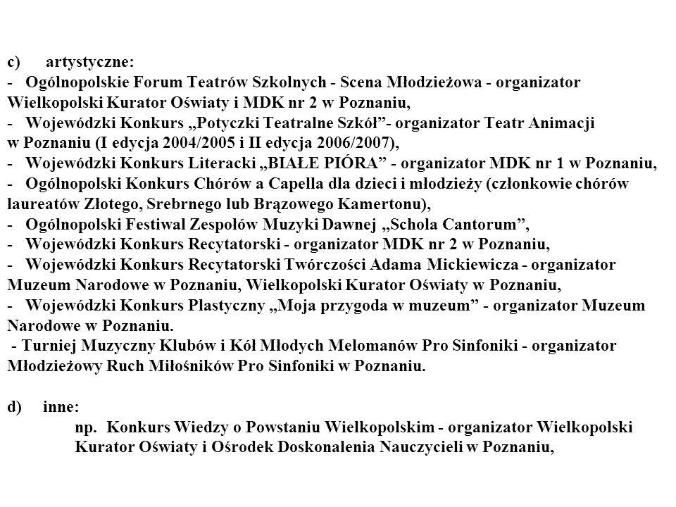 c) artystyczne: - Ogólnopolskie Forum Teatrów Szkolnych - Scena Młodzieżowa - organizator Wielkopolski Kurator Oświaty i MDK nr 2 w Poznaniu, - Wojew