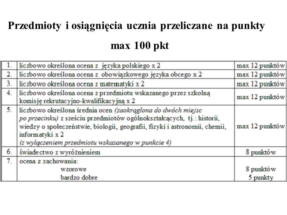Przedmioty i osiągnięcia ucznia przeliczane na punkty max 100 pkt