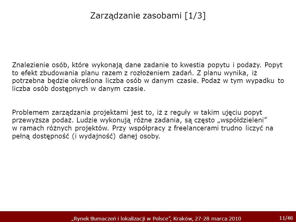11/ 46 Rynek tłumaczeń i lokalizacji w Polsce, Kraków, 27-28 marca 2010 Znalezienie osób, które wykonają dane zadanie to kwestia popytu i podaży. Popy
