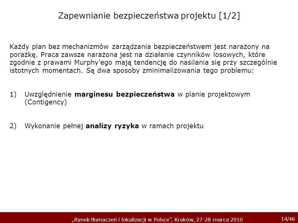 14/ 46 Rynek tłumaczeń i lokalizacji w Polsce, Kraków, 27-28 marca 2010 Każdy plan bez mechanizmów zarządzania bezpieczeństwem jest narażony na porażk