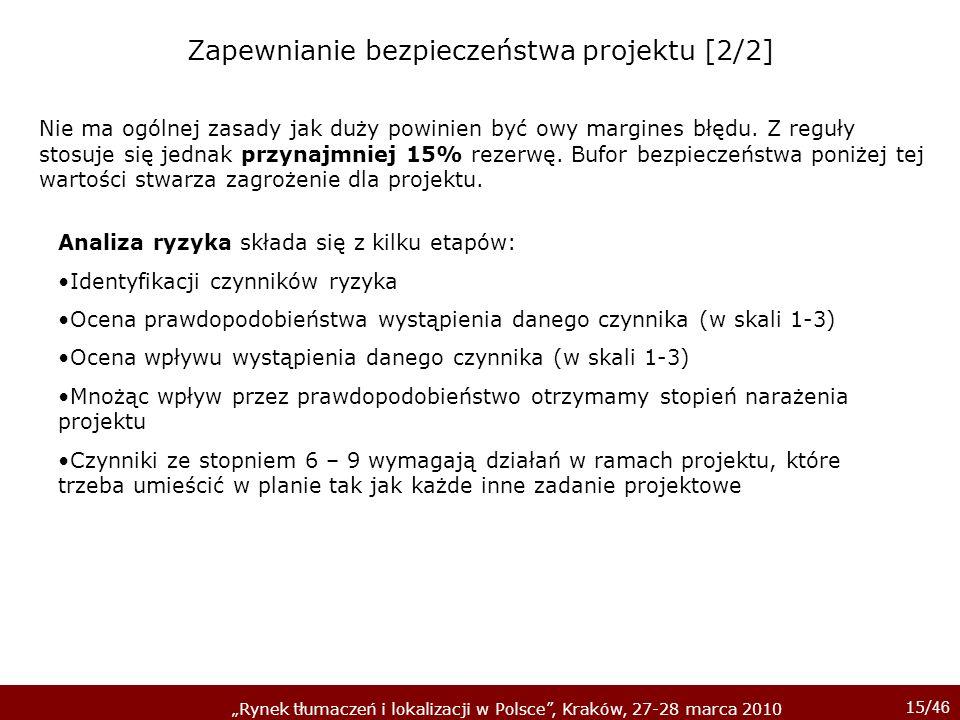 15/ 46 Rynek tłumaczeń i lokalizacji w Polsce, Kraków, 27-28 marca 2010 Analiza ryzyka składa się z kilku etapów: Identyfikacji czynników ryzyka Ocena