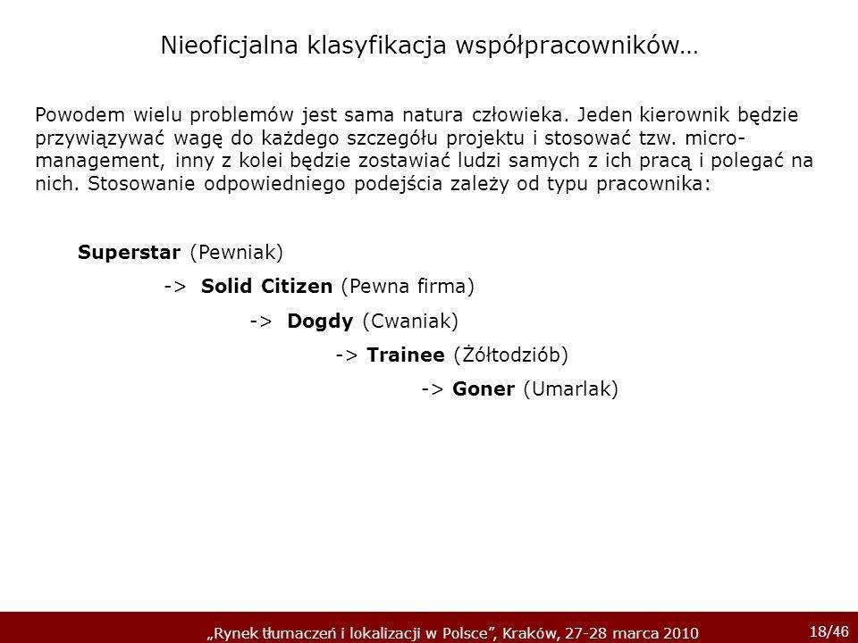 18/ 46 Rynek tłumaczeń i lokalizacji w Polsce, Kraków, 27-28 marca 2010 Powodem wielu problemów jest sama natura człowieka. Jeden kierownik będzie prz