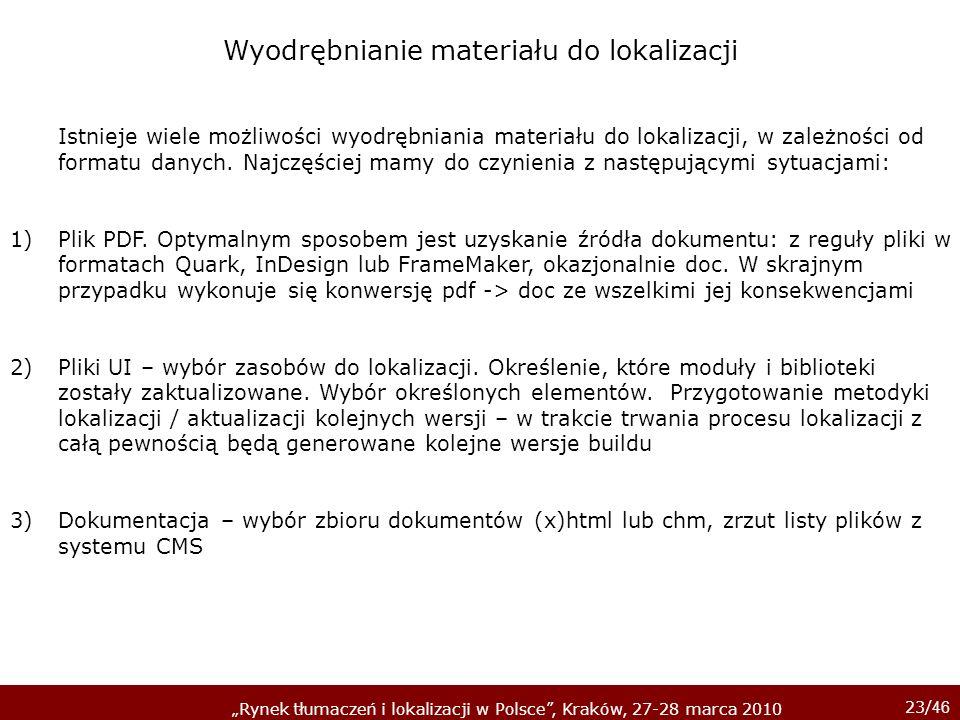 23/ 46 Rynek tłumaczeń i lokalizacji w Polsce, Kraków, 27-28 marca 2010 Istnieje wiele możliwości wyodrębniania materiału do lokalizacji, w zależności