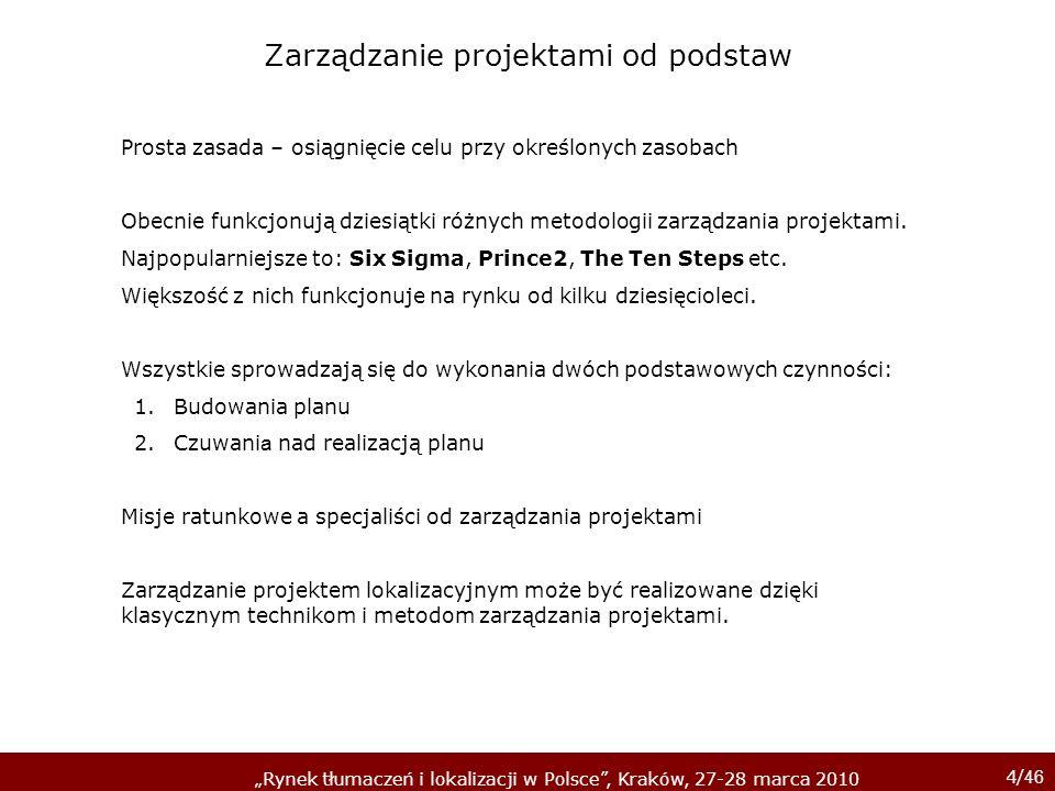 4/ 46 Rynek tłumaczeń i lokalizacji w Polsce, Kraków, 27-28 marca 2010 Zarządzanie projektami od podstaw Prosta zasada – osiągnięcie celu przy określo