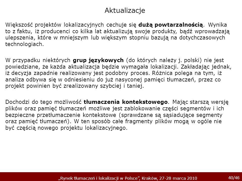 40/ 46 Rynek tłumaczeń i lokalizacji w Polsce, Kraków, 27-28 marca 2010 Większość projektów lokalizacyjnych cechuje się dużą powtarzalnością. Wynika t