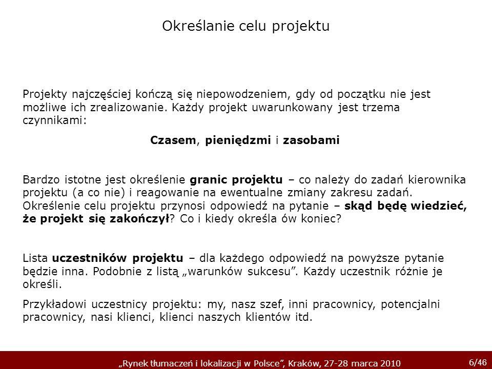 6/ 46 Rynek tłumaczeń i lokalizacji w Polsce, Kraków, 27-28 marca 2010 Określanie celu projektu Projekty najczęściej kończą się niepowodzeniem, gdy od